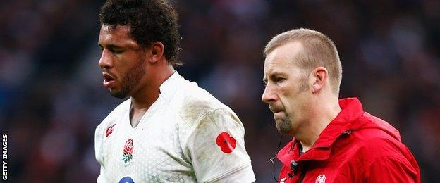 Courtney Lawes comes off in the Test against New Zealand
