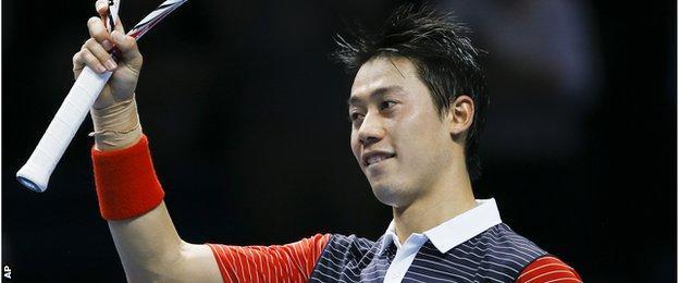 Kei Nishikori beats David Ferrer in the ATP World Tour Finals, O2, London