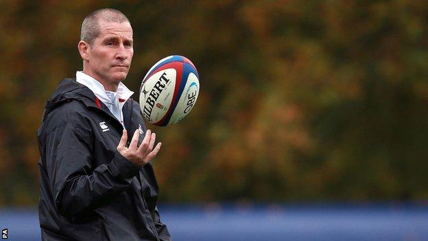 Stuart Lancaster pictured during an England training session