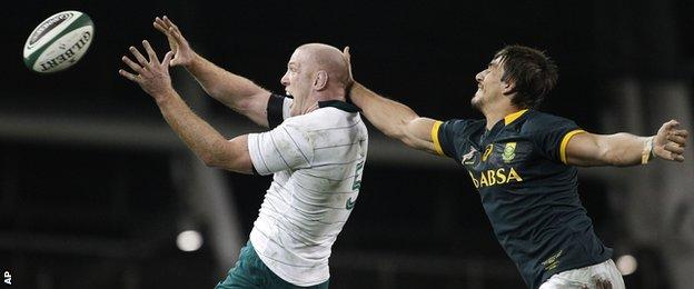 Ireland second row Paul O'Connell beats South Africa's Eben Etzebeth to a line-out throw last weekend
