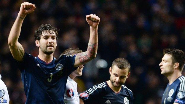 Charlie Mulgrew celebrates Scotland's victory