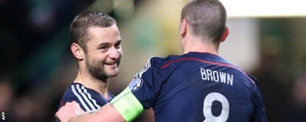 Shaun Maloney is congratulated by Scotland captain Scott Brown