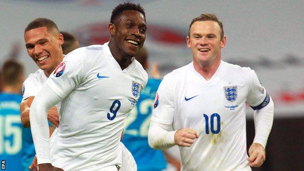 Danny Welbeck celebrates against Slovenia