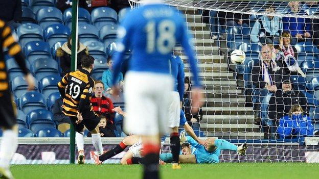 Liam Buchanan scores for Alloa Athletic against Rangers