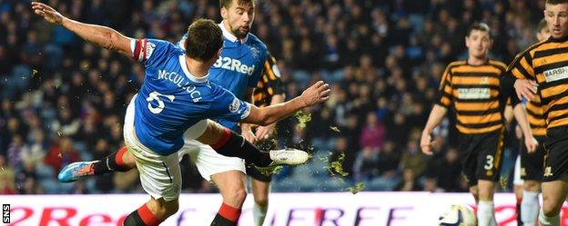 Lee McCulloch scores for Rangers against Alloa Athletic
