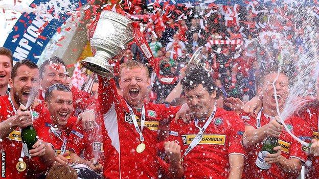 Cliftonville celebrate winning the League Cup last season