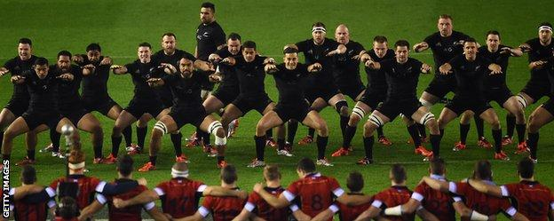 Scotland players face down the New Zealand Haka
