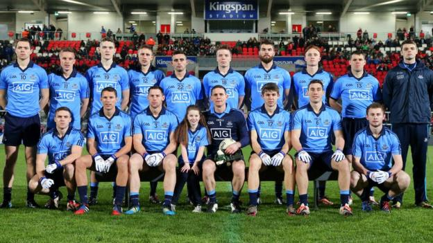 Dublin players pose for a team photograph before the Motor Neurone Disease Association fund-raising game in Belfast