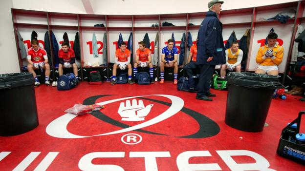 Some of the Ulster county stars in the changing room before the charity 'Game for Anto' at the Kingspan Stadium