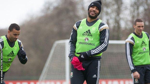 Ashley Williams in training with Wales before the match with Belgium in Brussels