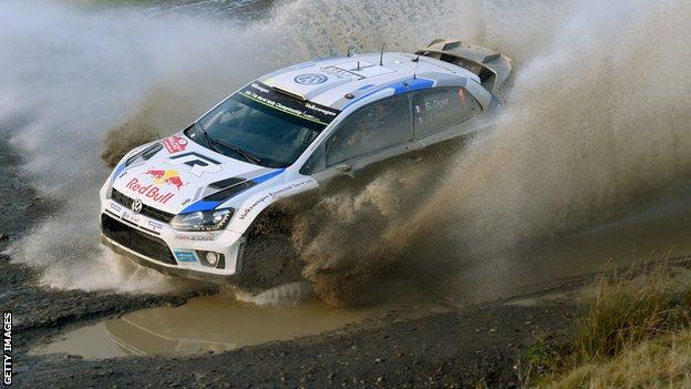 Volkswagen's Sebastian Ogier in action at Wales Rally GB