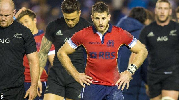 Scotland winger Tommy Seymour shows his disappointment