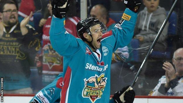 Evan Cheverie celebrates after scoring the winner against Nottingham Panthers