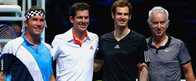 Pat Cash, Tim Henman, Andy Murray and John McEnroe play a doubles exhibition at O2 Arena