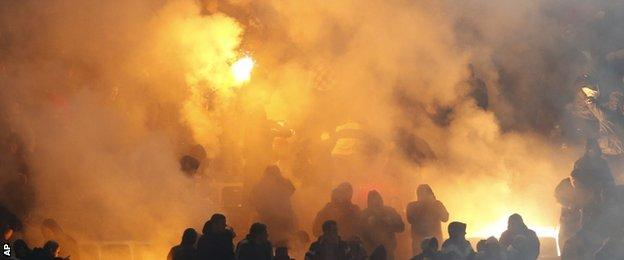 Italy v Croatia flares