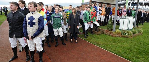 Jockeys pay tribute to Dessie Hughes at Cheltenham Racecourse