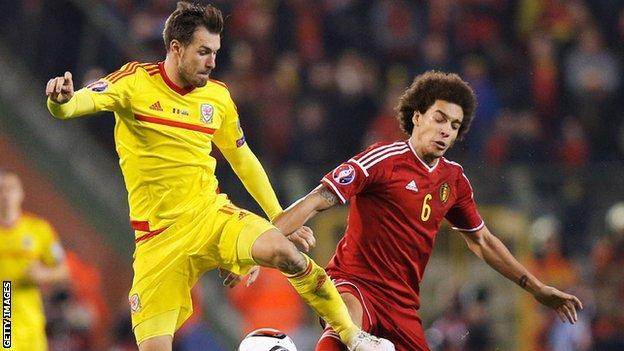 Aaron Ramsey in action for Wales against Belgium