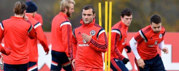 Shaun Maloney in training with Scotland