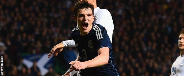 Andrew Robertson celebrates his goal for Scotland