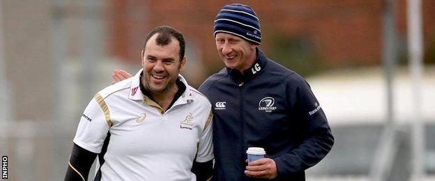 Australia coach Michael Cheika with his former Leinster player Leo Cullen
