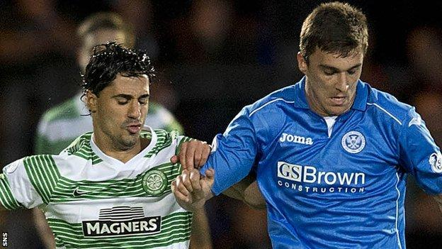 Celtic's Beram Kayal and St Johnstone's Adam Morgan