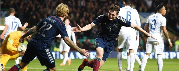 Andy Robertson celebrates his goal for Scotland against England