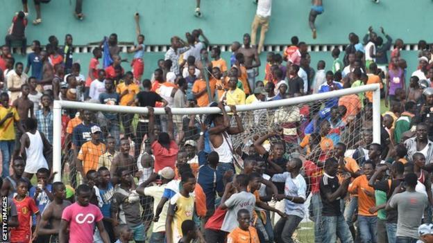 A pitch invasion in Abidjan