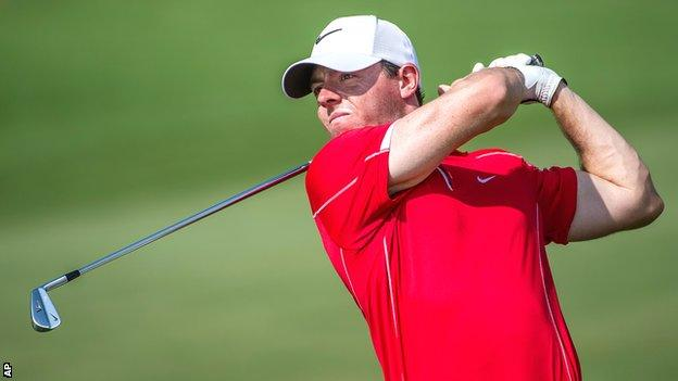 Rory McIlroy in first-round action at the World Tour Championship
