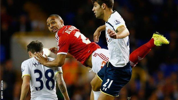 Dexter Blackstock (centre) in action against Tottenham in the League Cup in September