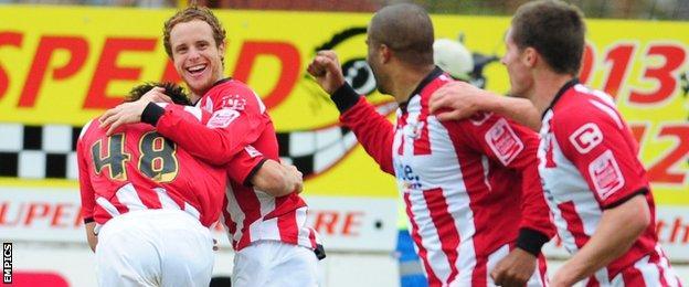 Ryan Harley scores for Exeter