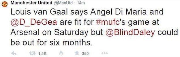 Man Utd's tweet about Blind injury