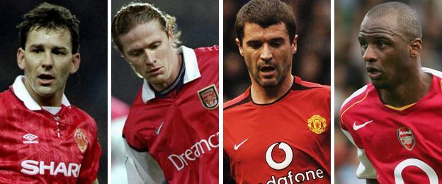 Bryan Robson, Emmanuel Petit, Roy Keane and Patrick Vieira