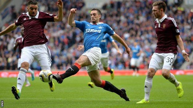 Lee Wallace breaks forward for Rangers