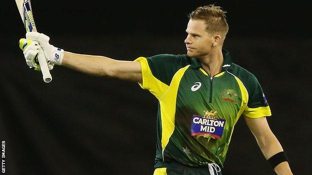 Australia all-rounder Steve Smith scores a century against South Africa at the MCG