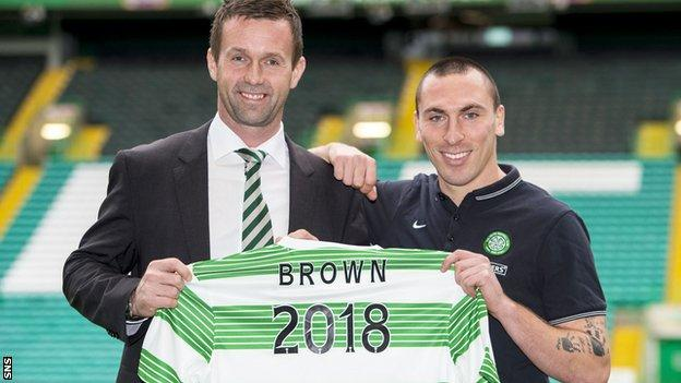 Celtic manager Ronny Deila with skipper Scott Brown