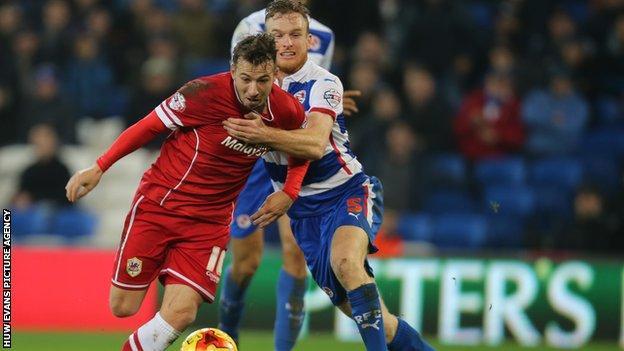 Cardiff City striker Adam Le Fondre in action against Reading