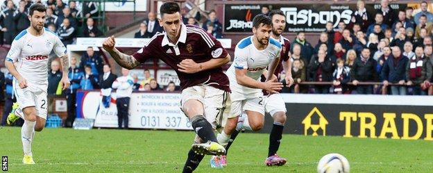 Jamie Walker scores a penalty for Hearts against Rangers