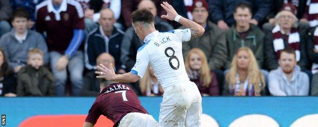 Rangers' Ian Black fouls Hearts' Jamie Walker and concedes a penalty
