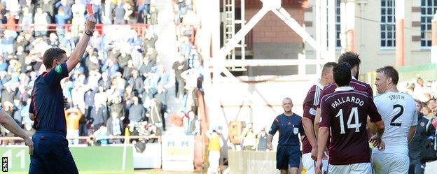 Referee Craig Thomson sends Steven Smith off.