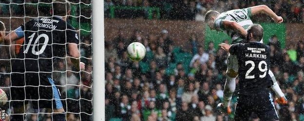 Celtic striker Anthony Stokes scores against Dundee
