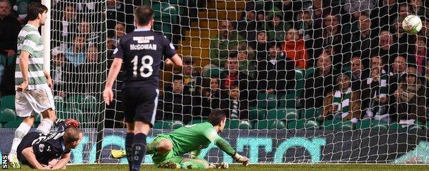 David Clarkson scores for Dundee against Celtic