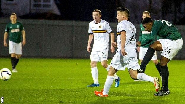 Dominique Malonga scores for Hibernian against Dumbarton