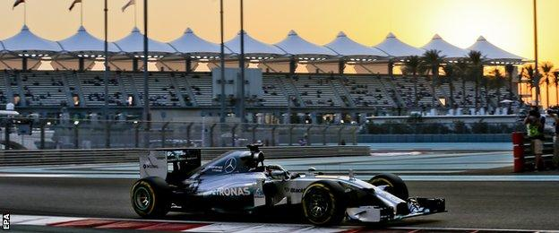 Lewis Hamilton during Qualifying in the Abu Dhabi Grand Prix