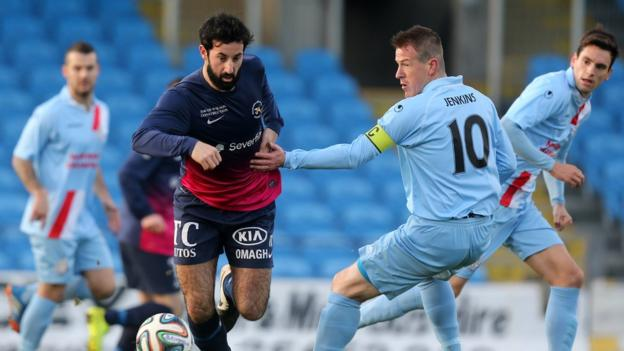 Johnny Lafferty in action against Allan Jenkins as Ballymena emerge 3-0 winners over Ballinamallard