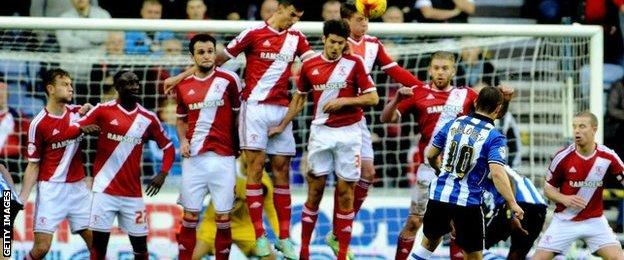 Shaun Maloney's free-kick beat Dimi Konstantopoulos to put Wigan ahead