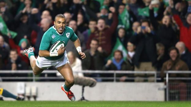 Ireland winger Simon Zebo goes over for his side's opening try in the first half