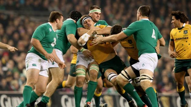 Mike Ross, Rhys Ruddock and Devin Toner tackle Luke Jones in a fiercely contested encounter at the Aviva Stadium