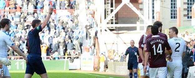 Rangers defender Steven Smith is sent off against Hearts