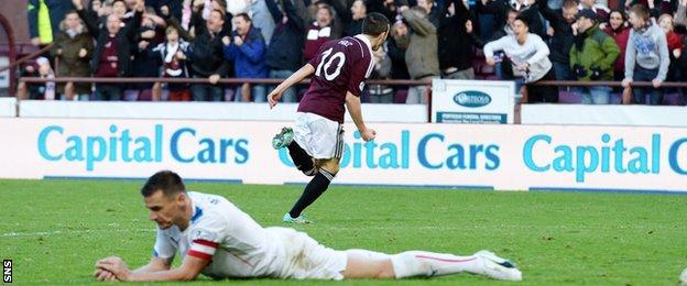 Rangers' Lee McCulloch lies prone as Hearts' Jason Holt wheels away to celebrate