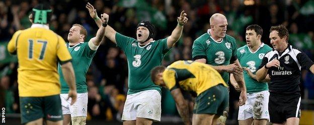 Ireland players celebrate a clean sweep of autumn victories after the final whistle